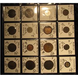 40. Plastic Coin Page containing (16) BU Coins from (8) Different Countries. All over 100 Years old.