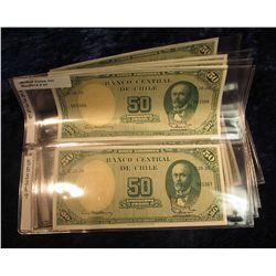 41. Chile Pick No. 64. 50 Peso/5 Centavos Notes 1938-1947. CU. 8 Consecutive notes 563366 thru 56337