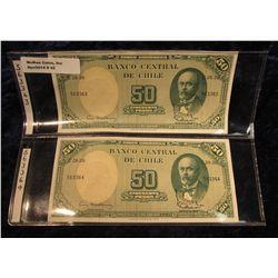 42. Chile Pick No. 64. 50 Peso/5 Centavos Notes 1938-1947. CU. 2 Consecutive notes 563363 thru 56336