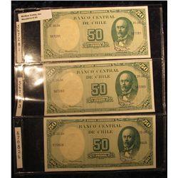43. Chile Pick No. 64. 50 Peso/5 Centavos Notes 1938-1947. CU. 3 notes 567281, 567283, & 570826. Alb