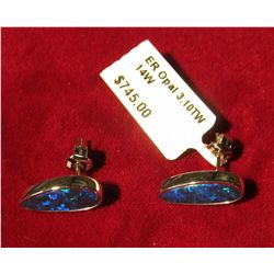 50. New with hang tag Opal Earrings in 14K White Gold. 3.10 carat total weight. Originally sold at $
