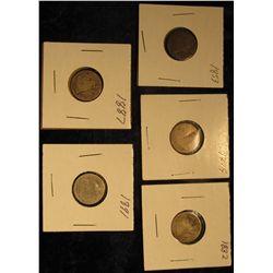 101. 1853, 1875, 1882, 1887, & 1891 Low Grade U.S. Seated Liberty Dimes.