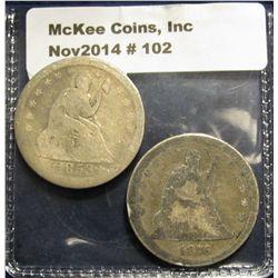 102. 1853 & 1876 U.S. Seated Liberty Quarters. AG-G.