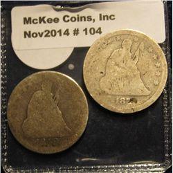 104. 1849 & 1873? U.S. Seated Liberty Quarters. Fair to AG.