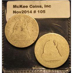 105. 1853 A & R & 1877 U.S. Seated Liberty Quarters. Fair to AG.