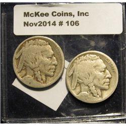 106. 1915 P & 20 D Buffalo Nickels. AG-G.