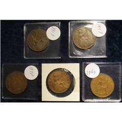 107. (5) Great Britain Large Pennies: 1913, 27, 30, 35, & 64.