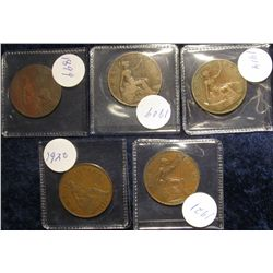 108. (5) Great Britain Large Pennies: 1899, 1909, 14, 20, & 21.