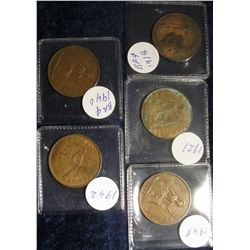 110. (5) Great Britain Large Pennies: 1918, 1921, 1940, 1942, & 1948.