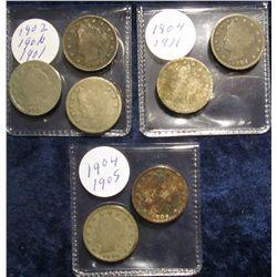 "113. 1901, 02, (2) 04, 05, 06, & 11 U.S. Liberty ""V"" Nickels. Circulated."