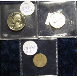 117. 1884 Seated Liberty Dime; 1976 S Proof Washington Bicentennial Quarter; & 1942 P Silver War Nic