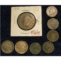 119. 1821 U.S. Large Cent, (5) Indian Head Cents; & 1917 P & 19 S Buffalo Nickels.