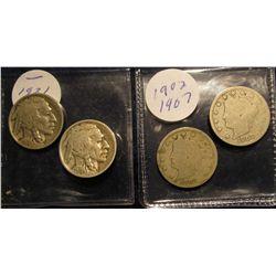 122. 1902 & 07 Liberty Nickels; 21 P & 24 P Buffalo Nickels. AG-VG.