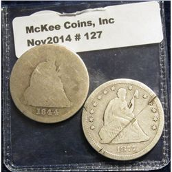 127. 1844 & 1877 U.S. Seated Liberty Quarters. AG-3.