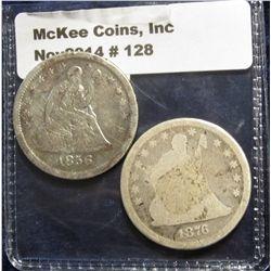 128. 1856 & 1876 U.S. Seated Liberty Quarters. AG-3.