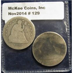 129. 1858 & 1861 U.S. Seated Liberty Quarters. AG-3.