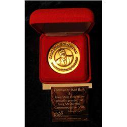 131. Coach Greg McDermott, Iowa State University Basketball Bronze Medal. 39mm. In red velvet-lined