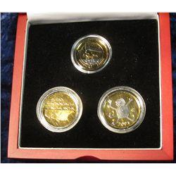 135. Three-Piece Netherlands 2001 Euro Set. Includes 1 Euro, & (2) 1 Gulden. All Gem BU.