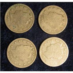145. 1901, 04, 05, & 12 P U.S. Liberty Nickels. Average circulated.