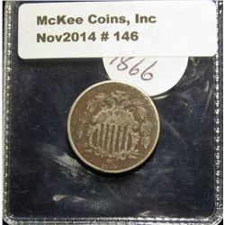 146. 1866 With Rays U.S. Shield Nickel. G-VG.