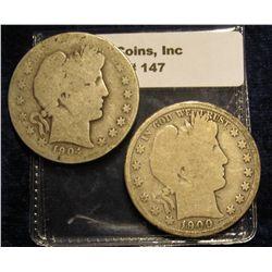 147. 1900 P & 04 O U.S. Barber Half Dollars. AG-G.