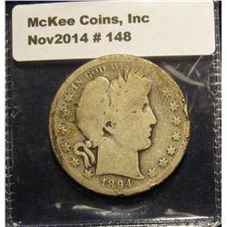 148. 1894 S Barber Half Dollar. AG-G.