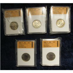 805. 2008 P New Mexico Statehood Quarter SGS slabbed MS 70 & (4) 2008 P Oklahoma Statehood Quarters