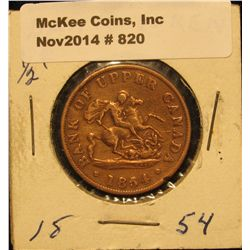 820. 1854 Bank of Upper Canada One Half Penny Token. Depicts St. George slaying the Dragon. VG.