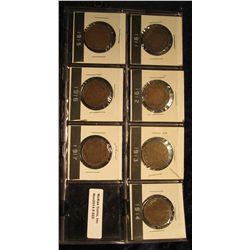 822. 1911, 12, 13, 14, 15, 16, & 17 Canada Large Cents. All grade near VF.