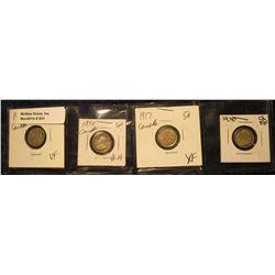 831. 1911 VF, 14 VF-EF, 17 EF, & 18 EF Canada Five Cent Silvers.