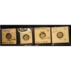 832. 1908 VG, 13 AU, 17C VG, & 40C EF Newfoundland Five Cent Silvers.
