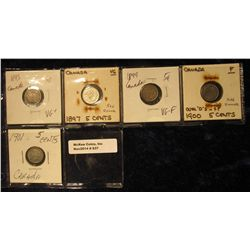837. 1893 VG+, 1897 VG, 1899 VG-F, 1900 F-12, & 1901 F-12 Canada Five Cent Silvers.