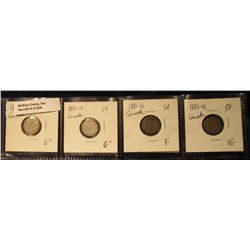 838. 1870 WR G+, 1880H G-4, 1881H F-12, & 1882H VG Canada Five Cent Silvers.