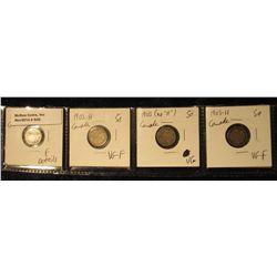 840. 1900 Fine details, 1902H VG-F, 1903 (no H) VG, & 1903H VG-F Canada Five Cent Silvers.