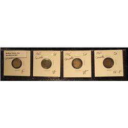 841. 1904 F, 1905 VF, 1906 VF+, & 1907 VG-F Canada Five Cent Silvers.