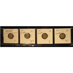 842. 1910 Fine, 1911 VG-F, 1917 Fine, & 1920 VF Canada Five Cent Silvers.