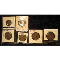 843. 1859 VG, 1902 VF, 12 EF, 16 F, 17 F, & 20 VF Canada Large Cents.