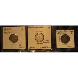 850. 1904H VG, 1941C VF, & 1942C Toned EF Newfoundland Silver Dimes.
