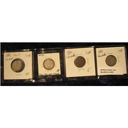 851. 1886 Small 6 VG, 1888 VG (low mintage), 1892 G+, & 1896 G+ Canada Silver Dimes.