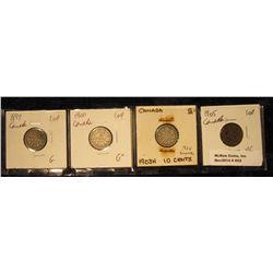 852. 1899 G, 1900 G+, 1903H G+, & 1905 VG Canada Silver Dimes.