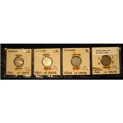 853. 1906 VG, 1907 VG, 1908 VG, & 1909 Broad Leaves G-4 Canada Silver Dimes.