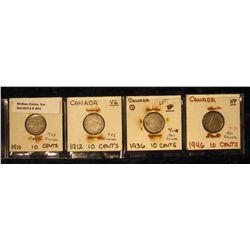 854. 1910 VG, 12 VG, 36 VF, & 46 EF Canada Silver Dimes.