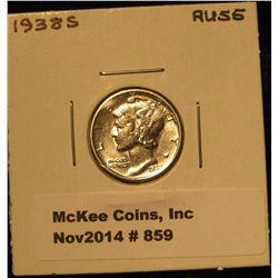 859. 1938 S Mercury Dime. AU 55.