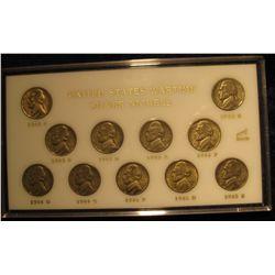 863. Set of Jefferson War Nickels in Capitol holder. F-EF. (11 coins).