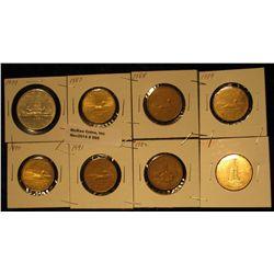 865. 1979, 1987, 88, 89, 90, 91, 92, & 94 Canada Dollar Coins.
