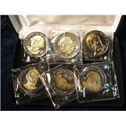 892. The National Historic Mint five Piece Set of Presidential Double Eagle Coins in felt-lined case