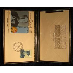 900. 1974 Fleetwood First Day Cover Album with FDC of Winston Churchill.  Very attractive and mint c