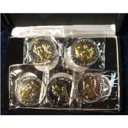 903. The National Historic Mint five Piece Set of Presidential Double Eagle Coins in felt-lined case