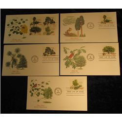 910. (5) Different Postal First Day of Issue Covers with various Tree, fruit, leaves, and Wildlife d