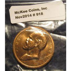 918. 1881 James A. Garfield Assassination Bronze Medal. U.S. Mint issue.